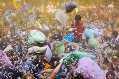 La gente joven está luchando las almohadas Imagen de archivo libre de regalías