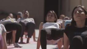 La gente joven hace yoga en el patio abierto por la mañana soleada, estirando Tien Shan Ejercicio de pierna almacen de video