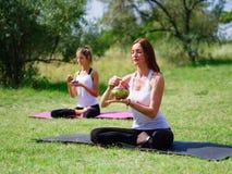 La gente joven que medita en yoga clasifica en verano en naturaleza Imagen de archivo libre de regalías