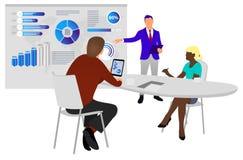 La gente lavora in un gruppo ed interagisce con i grafici Affare, gestione di flusso di lavoro e situazioni dell'ufficio cruscott illustrazione di stock