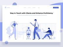 La gente lavora in un ufficio ed interagisce con differenti dispositivi Affare, gestione di flusso di lavoro e situazioni dell'uf illustrazione vettoriale