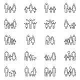La gente, los padres y los niños adultos alinean iconos Pictogramas del vector del esquema de la familia ilustración del vector