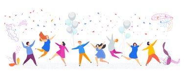 La gente minúscula tiene baile de la diversión Partido que encanta, acontecimiento corporativo ilustración del vector