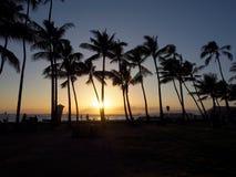 La gente mira y toma las fotos de la puesta del sol dramática que caen detrás del océano a través de árboles de coco en la playa  imagen de archivo libre de regalías