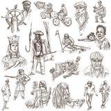 La gente, nativi Un disegnato a mano ingrassa il bianco Fotografia Stock Libera da Diritti