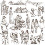 La gente, nativi Un disegnato a mano ingrassa il bianco Immagine Stock