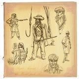 La gente, nativi Un pacchetto disegnato a mano di vettore Immagini Stock Libere da Diritti