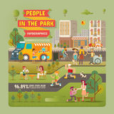 La gente negli elementi di Infographic del parco Fotografie Stock