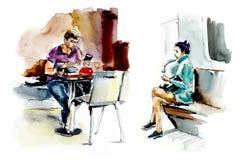 La gente nei megapolis Illustrazione disegnata a mano dell'acquerello illustrazione di stock