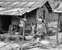La gente nel Benin, in bianco e nero Fotografia Stock