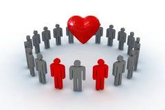 La gente nel cerchio con il simbolo del cuore Immagini Stock Libere da Diritti