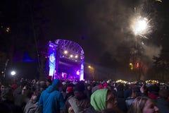 La gente nel christkindlmarkt per il nuovo anno EVE 2015-2016 Fotografie Stock