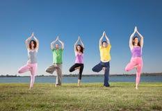 La gente nel gruppo pratica il asana di yoga sulla riva del lago. fotografia stock