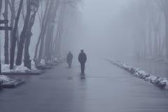 La gente nel parco nebbioso di inverno Immagine Stock Libera da Diritti