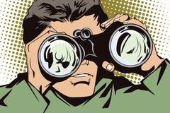 La gente nel retro Pop art di stile e pubblicità dell'annata Uomo con il binocolo Immagini Stock Libere da Diritti