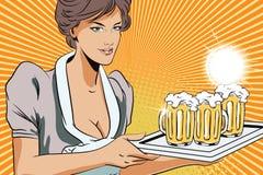 La gente nel retro stile Cameriera di bar della ragazza con birra Fotografie Stock