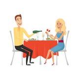 La gente nel ristorante per la cena Stile del fumetto e del piano Illustrazione di vettore su un fondo bianco Immagini Stock