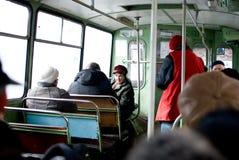 La gente nel trasporto pubblico Fotografia Stock