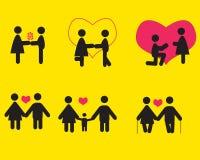 La gente nell'amore, insieme dell'icona Fotografie Stock