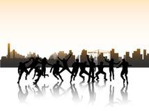 La gente nell'azione ed in città illustrazione di stock