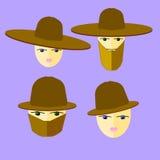 La gente nell'icona piana dei cappelli Fotografia Stock Libera da Diritti