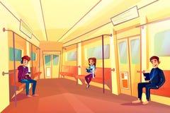 La gente nell'illustrazione di vettore del treno della metropolitana del sottopassaggio royalty illustrazione gratis