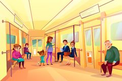 La gente nell'illustrazione di vettore del treno della metropolitana del sottopassaggio illustrazione di stock