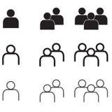 La gente nell'insieme minimo di vettore Eps10 delle icone di stile Immagine Stock Libera da Diritti