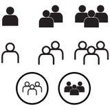 La gente nell'insieme minimo di vettore Eps10 delle icone di stile Fotografie Stock