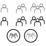 La gente nell'insieme minimo di vettore Eps10 delle icone di stile Fotografia Stock Libera da Diritti