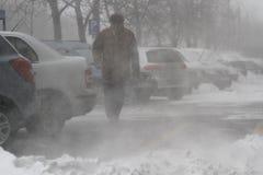 La gente nella bufera di neve Immagini Stock Libere da Diritti