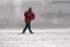 La gente nella bufera di neve Fotografia Stock Libera da Diritti