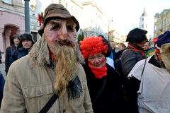 La gente nelle maschere tradizionali Immagini Stock Libere da Diritti