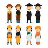 La gente nelle professioni differenti ha messo, icone del lavoratore su fondo bianco illustrazione di stock