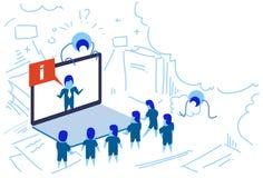La gente online di seminario della bolla di informazioni di chiacchierata dello schermo del computer portatile dell'uomo d'affari illustrazione di stock