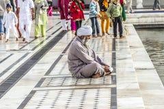 La gente prega nel Harimandir Sahib al compl dorato del tempio Immagine Stock Libera da Diritti