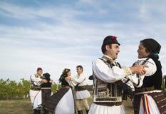 La gente que baila en el viñedo tradicional de Jidvei cosecha favorablemente fotos de archivo
