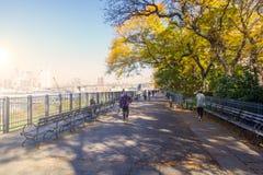 La gente que camina en Brooklyn Heights promenade con la opinión de Manhattan imágenes de archivo libres de regalías