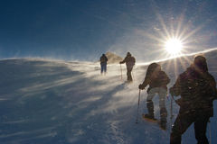 La gente que camina en la nieve en un viento asalta Fotos de archivo