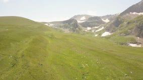 La gente que camina en prado del verano en valle y montaña ajardina de abejón almacen de metraje de vídeo