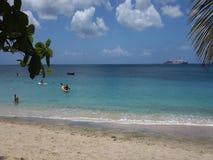 La gente que goza del sol y del mar en una bahía más baja vara, Bequia metrajes