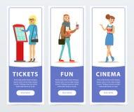 La gente que iba a mirar las películas, banderas del cine fijó los elementos planos del vector para el sitio web o el app móvil Foto de archivo