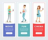 La gente que iba a mirar películas, tres banderas del cine fijó los elementos planos del vector para el sitio web o el app móvil Fotografía de archivo