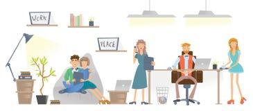 La gente que trabaja en la oficina o el centro coworking El jefe se está sentando en la tabla detrás del ordenador portátil Vecto libre illustration