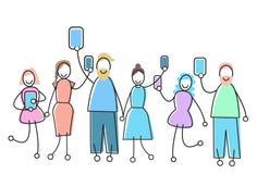 La gente raggruppa con il concetto di comunicazione della rete sociale dell'aggeggio Immagini Stock Libere da Diritti