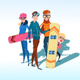 La gente raggruppa con il pendio di montagna della neve di vacanza di Ski Snowboard Winter Activity Sport Fotografia Stock Libera da Diritti