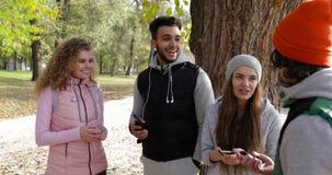 La gente raggruppa facendo uso dello Smart Phone all'aperto, mattina parlante Autumn Park Near Tree di comunicazione della rete d stock footage