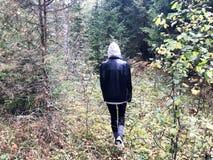 La gente, recogedores de la seta en ropa caliente camina en un alza a través del bosque del otoño con los árboles en la naturalez imagen de archivo libre de regalías