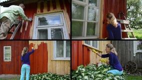 La gente renueva la casa de campo vieja Pared de la pintura en rojo collage almacen de metraje de vídeo