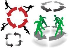 La gente ricicla intorno sulle frecce di affari dei cerchi Fotografia Stock